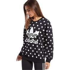 adidas Originals Dots Allover Print Trefoil Sweatshirt ($76) ❤ liked on Polyvore featuring tops, hoodies, sweatshirts, white top, black cotton sweatshirt, cotton sweatshirt, white sweatshirt and black sweat shirt