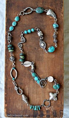 Handmade turquoise and sterling silver wire link necklace by Cindy Wimmer     #wirework