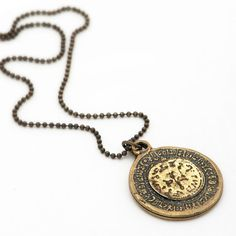 Pomegranate Coin Necklace Long Chain Necklace Jewish by efratim, $46.00
