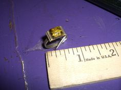 Vintage Sterling Silver .925 Ring Amber Size 6.5