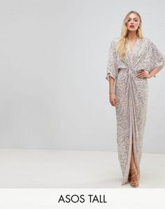 42e85466fe3 ASOS TALL Sequin Kimono Maxi Dress Кимоно Мода