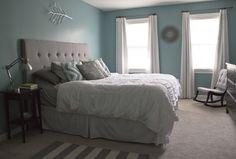 Aqua blue and gray bedroom