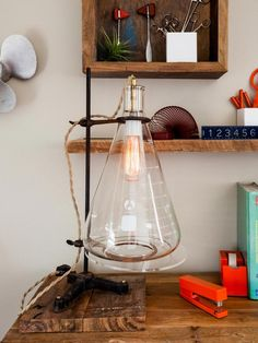 Industrial desk lamp made from an old beaker