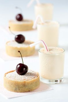CHERRY BAKEWELL TARTALETTES WITH CHERRY PIT ICE CREAM MILKSHAKES