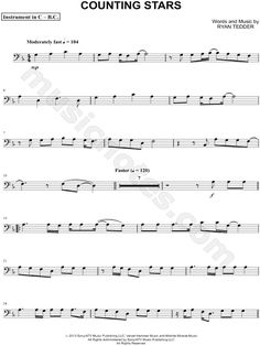 Print and download Counting Stars - Bass Clef Instrument sheet music by OneRepublic arranged for Bass Clef Instrument or Cello or Double Bass or Trombone or Bassoon or Baritone Horn. Instrumental Solo, and Instrumental Part in D Minor (transposable).