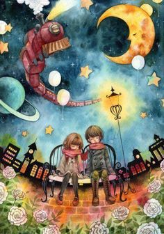 So cute! / surrealism / illüstration / art / sanat / friends / sky