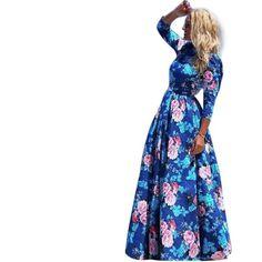 Hot Sale vestidos 2016 New Fashion Women Summer Dress Print Long Maxi Dresses Beach Dress Half Sleeve Bohemian Dress New