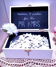 224 Piece Guest Puzzle for Wedding - Chalkboard Wooden Box With Latch - Rustic Guestbook - Blank Puzzle