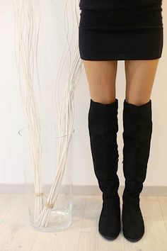 Suede Over The Knee Flat Boots