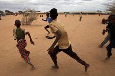 Somali #refugee children playing #football.  PHOTO UNHCR/ B. HEGER
