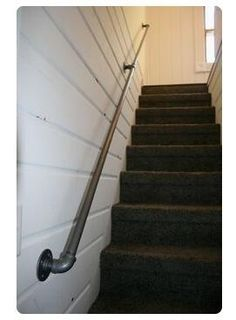 pipe & fittings = industrial handrail for basement stairs Pipe Railing, Stair Handrail, Handrail Ideas, Handrail Fittings, Hand Railing, Porch Railings, Industrial Handrail, Industrial Pipe, Basement Stairway