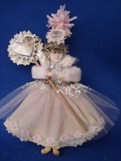 Items similar to Vintage Style Valentine Batting Doll Ornament Pink Susan Arnot on Etsy - Victorian Christmas Ornaments, Shabby Chic Christmas, Pink Christmas, Christmas Angels, Vintage Christmas, Christmas Crafts, Vintage Ornaments, Vintage Santas, Christmas Trees