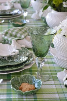 Ireland is a land that boasts 40 shades of green, so I dressed the table with a multi-hued cloth and with cabbage leaf plates in celebration for St. Patrick's Day. Green and white flowers for…
