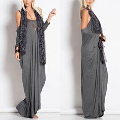 CATARINA cold shoulder maxi dress - CHARCOAL Cold Shoulder Maxi Dress 95% Rayon 5% Spandex.   AVAILABLE IN CHARCOAL, OLIVE AND BLACK.  NO TRADE PRICE FIRM Bellanblue Dresses Maxi