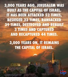 Jerusalem, the capital of Israel for 3000 years. Big thanks to President Trump for declaring the United States' recognition of Jerusalem as Israel's capital Israel History, Jewish History, Jewish Art, Ancient History, Israel Facts, Cultura Judaica, Israel Travel, Jerusalem Israel, Ex Machina