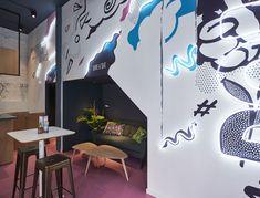 Aces of Space - Doi Doi I Hospitality Design & Branding / The creation of a visual Hospitality Design, Antwerp, Murals, Futuristic, Color Pop, Crisp, Color Schemes, Flow, Branding Design