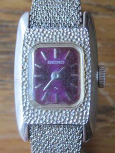 Vintage Seiko Purple Face Ladies Mesh Bracelet by LeftoverStuff