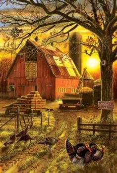 Mary Maxim - Sunset Barn Jigsaw Puzzle - The sunset paints this farm a golden hue as turkeys graze in the cool fall wind. Arte Country, Country Barns, Country Life, Country Living, Country Roads, Farm Barn, Old Farm, Cenas Do Interior, Barn Pictures