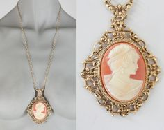 Vintage 70s Necklace / 1970s Long Gold Tone Cameo Necklace by FloriaVintage on Etsy