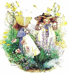 What lovely Spring flowers. Sarah Kay, Holly Hobbie, Mary May, Hobbies For Girls, Barbie Paper Dolls, Vintage Artwork, Vintage Comics, Cute Illustration, Vintage Pictures