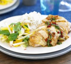 Thai roast chicken with mango & apple salad