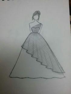 - My drawings - - (notitle) – My drawings – - Girl Drawing Sketches, Cute Easy Drawings, Girly Drawings, Art Drawings Sketches Simple, Pencil Art Drawings, Pencil Sketches Easy, Drawing Tips, Dress Design Sketches, Fashion Design Drawings