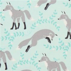 light blue animal fabric with fox by Michael Miller