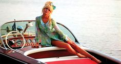 Brigitte Bardot on her Riva Super Florida. #Riva #tvg