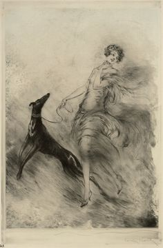 Louis Icart 'Lady With Dog' 1929