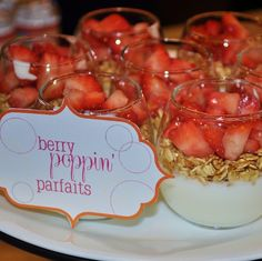 Berry Parfaits at a Baby Shower #parfaits #baby