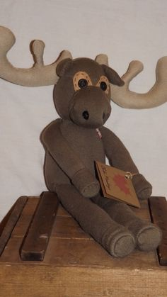 Marcus Handstitched sock moose. Stands approx 9 by ChikiMonkeys, $25.00