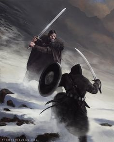 Art by thomaswievegg - Two-hander v. sword and shield