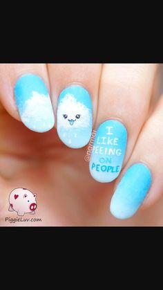 Cheeky-kawaii-cloud-nail-art-ft-picture-polish (u/piggyluv is amazing! Beautiful Nail Designs, Cool Nail Designs, Nail Art Kawaii, Cute Nails, Pretty Nails, Emoji Nails, Nailart, Neutral, Picture Polish