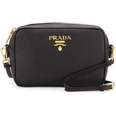Prada Small Saffiano Camera Crossbody Bag ($850) ❤ liked on Polyvore featuring bags, handbags, shoulder bags, black, prada, prada purses, prada shoulder bag, cross body and prada crossbody