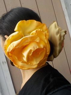 Ombre Yellow GIANT flower - flamenco Hair clip-pin - Neon orange - Belly dance - Tango Flower - Dress-up, casual - day of the dead - Freeda by HacktBellydance on Etsy