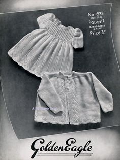 Baby Matinee Jacket and Dress instructions for 4ply  yarns19 ins - Golden Eagle 633 -  PDF of Vintage Knitting Patterns