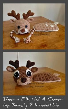 Crochet Reindeer Hat and Cover Set Pattern