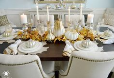 Fall Table with Gold Leaves and Candles on Restoration Hardware Trestle Table