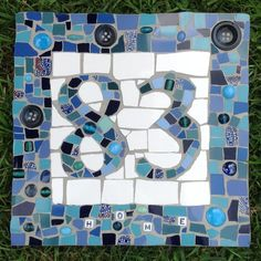 Mosaic House Number Blue Mosaic, tile, beads, buttons, crockery itemprop=