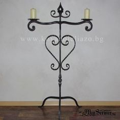 Wrought iron candle holder. Price: 71.28 Euro Handmade. Suitable for floor. Designed for two candles.  Dimensions: 60/H 115sm. Color- black mattee. Decorative finishing- patina by choice. Shop online: www.alwayservice.eu Wrought Iron Candle Holders, Euro, Color Black, Candles, Flooring, Shop, Handmade, Design, Home Decor