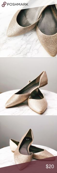 Champagne Gold Glitter Flats champagne glitter // worn once // practically new // flats // chic // perfect for weddings // run big BP Shoes Flats & Loafers