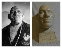 Maurice Tillet - The French Angel in mirrored pose with one of his death masks Angel In French, Creepy, Shrek, Weird, Death, Poses, Statue, Museums, Beautiful
