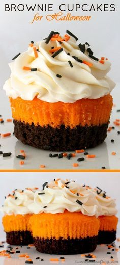 Brownie Cupcakes for Halloween - brownies plus cake plus frosting in one unique and delicious Halloween Cupcake. This special Halloween Treat tastes as amazing as it looks! Your Halloween Party guests will be impressed when you serve this super yummy Halloween dessert. Follow us for more fun Halloween Food Ideas. #halloweenfoods #halloweenpartyideas