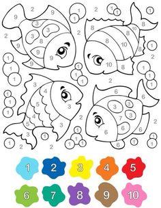Kindergarten worksheets, Preschool worksheets, Kindergarten math, Kindergarten, Preschool math, Preschool activities - Sayıları rengine göre boyama çalışması -  #Kindergartenworksheets