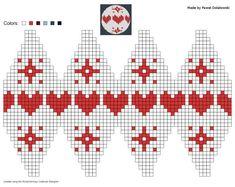 knitting chart made by Pawel Dolatowski Knit Christmas Ornaments, Crochet Christmas Decorations, Knitted Christmas Stockings, Beaded Ornaments, Christmas Toys, Xmas, Christmas Fair Ideas, Christmas Makes, Baby Hats Knitting