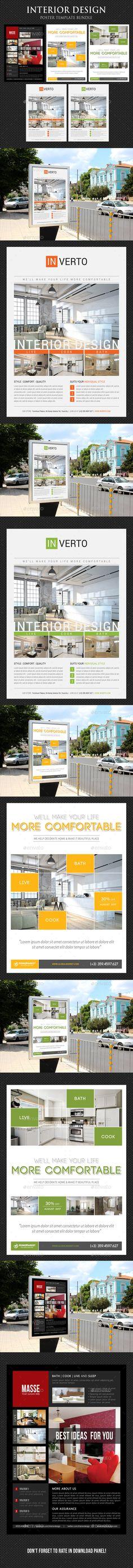 3 in 1 Interior Design Poster Template PSD Bundle
