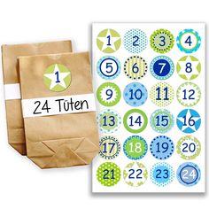 Adventskalender Set – 24 braune Papiertüten und 24 türkis-grüne Zahlenaufkleber – zum selber basteln und zum selberfüllen – Mini Set 13