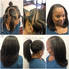 Neat, Classy Sew-In Hair Weave .... Call or text Natalie B. at (312) 273-8693 to schedule your appointment!  Lasts up to 2 1/2 months!  Can be worn in a high ponytail or bun...or down in a sleek style!  Can be created with most hair textures!  IG: @iamhairbynatalieb FB: Hair by Natalie B.