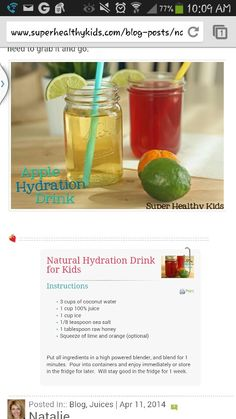 Homemade healthy sports drink