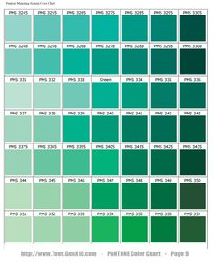 PANTONE Color Chart - (green with more yellow than blue): Vert Pantone, Pantone Verde, Teal Color Schemes, Teal Colors, Green Colour Palette, Colour Palettes, Summer Colors, Bedroom Green, Green Rooms